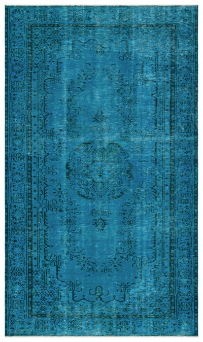 Turquoise  Over Dyed Vintage Rug 5'3'' x 8'12'' ft 161 x 274 cm