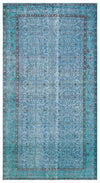 Blue Over Dyed Vintage Rug 4'9'' x 8'8'' ft 145 x 264 cm