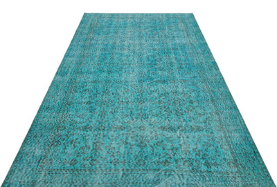 Turquoise  Over Dyed Vintage Rug 5'3'' x 9'1'' ft 159 x 278 cm