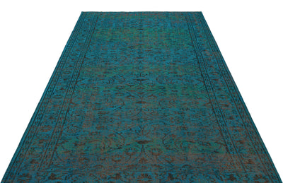 Turquoise  Over Dyed Vintage Rug 5'6'' x 8'7'' ft 168 x 262 cm