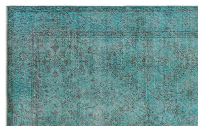 Turquoise  Over Dyed Vintage Rug 5'8'' x 9'0'' ft 172 x 275 cm