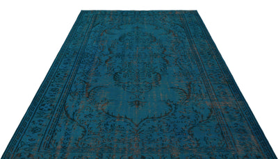 Turquoise  Over Dyed Vintage Rug 6'0'' x 8'4'' ft 183 x 255 cm