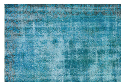 Turquoise  Over Dyed Vintage Rug 5'11'' x 8'10'' ft 181 x 268 cm