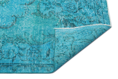 Turquoise  Over Dyed Vintage Rug 5'7'' x 9'3'' ft 170 x 281 cm