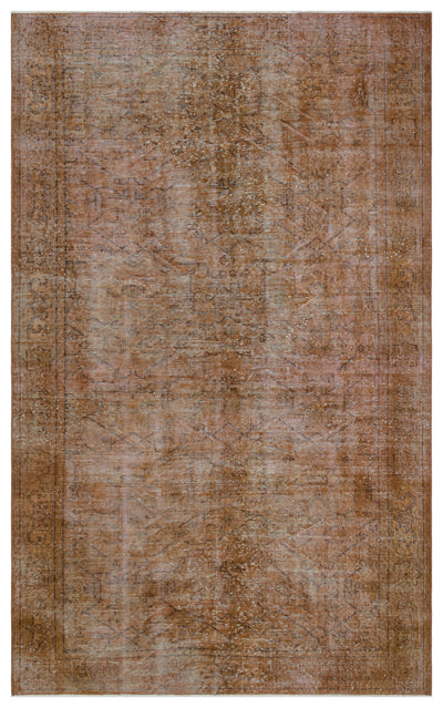 Brown Over Dyed Vintage Rug 5'4'' x 8'10'' ft 162 x 268 cm