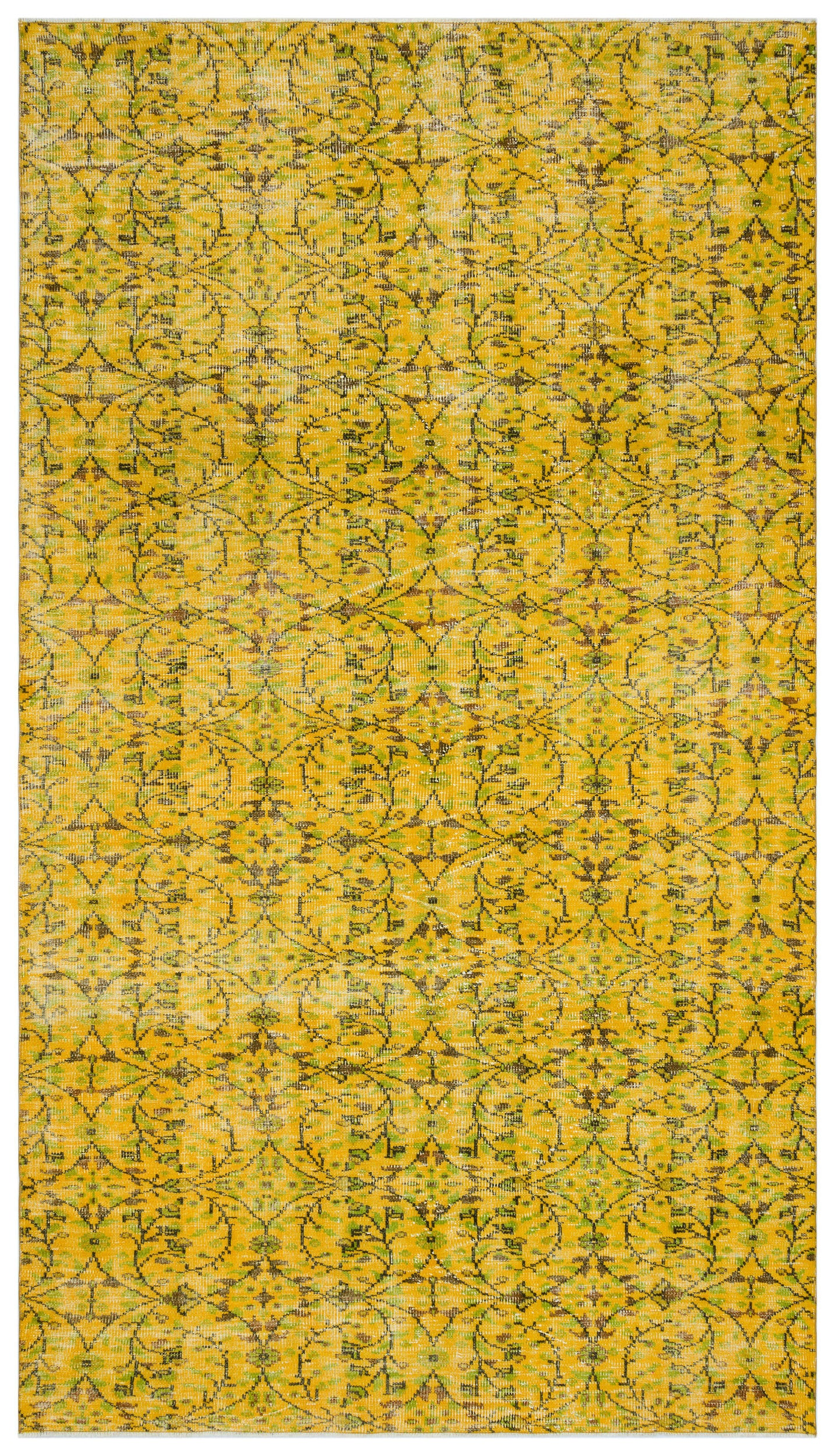Yellow Over Dyed Vintage Rug 6'2'' x 10'12'' ft 188 x 335 cm