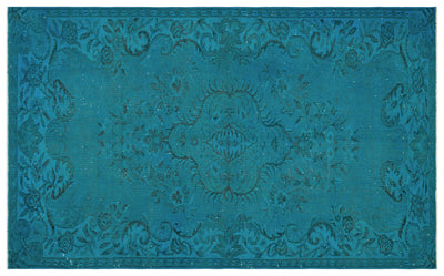 Turquoise  Over Dyed Vintage Rug 5'8'' x 9'2'' ft 172 x 280 cm
