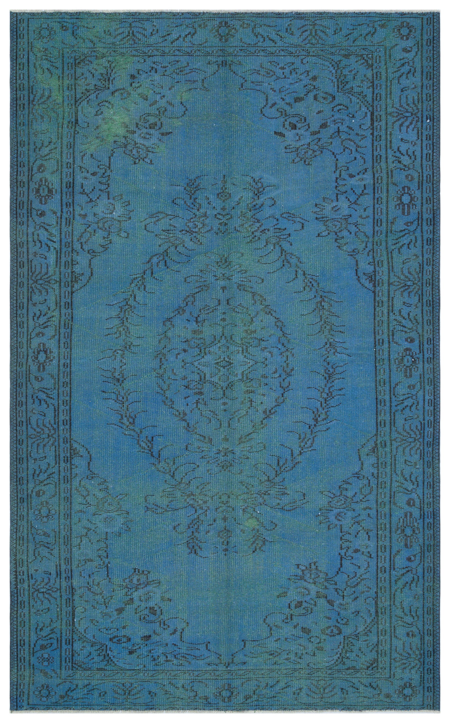 Blue Over Dyed Vintage Rug 5'11'' x 9'7'' ft 181 x 293 cm