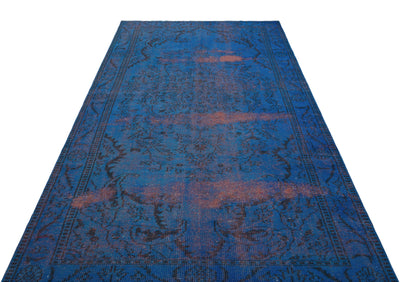 Blue Over Dyed Vintage Rug 5'3'' x 9'6'' ft 160 x 290 cm