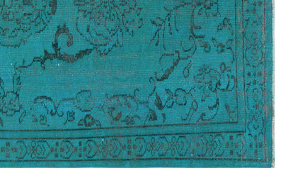 Turquoise  Over Dyed Vintage Rug 5'5'' x 8'10'' ft 166 x 270 cm