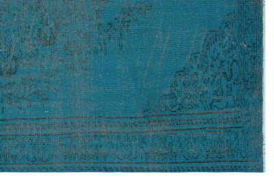 Turquoise  Over Dyed Vintage Rug 5'8'' x 8'8'' ft 173 x 264 cm