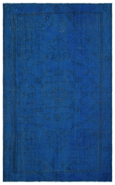 Blue Over Dyed Vintage Rug 5'8'' x 8'11'' ft 173 x 273 cm