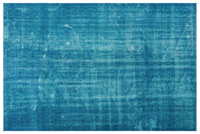 Turquoise  Over Dyed Vintage Rug 5'9'' x 8'6'' ft 175 x 258 cm