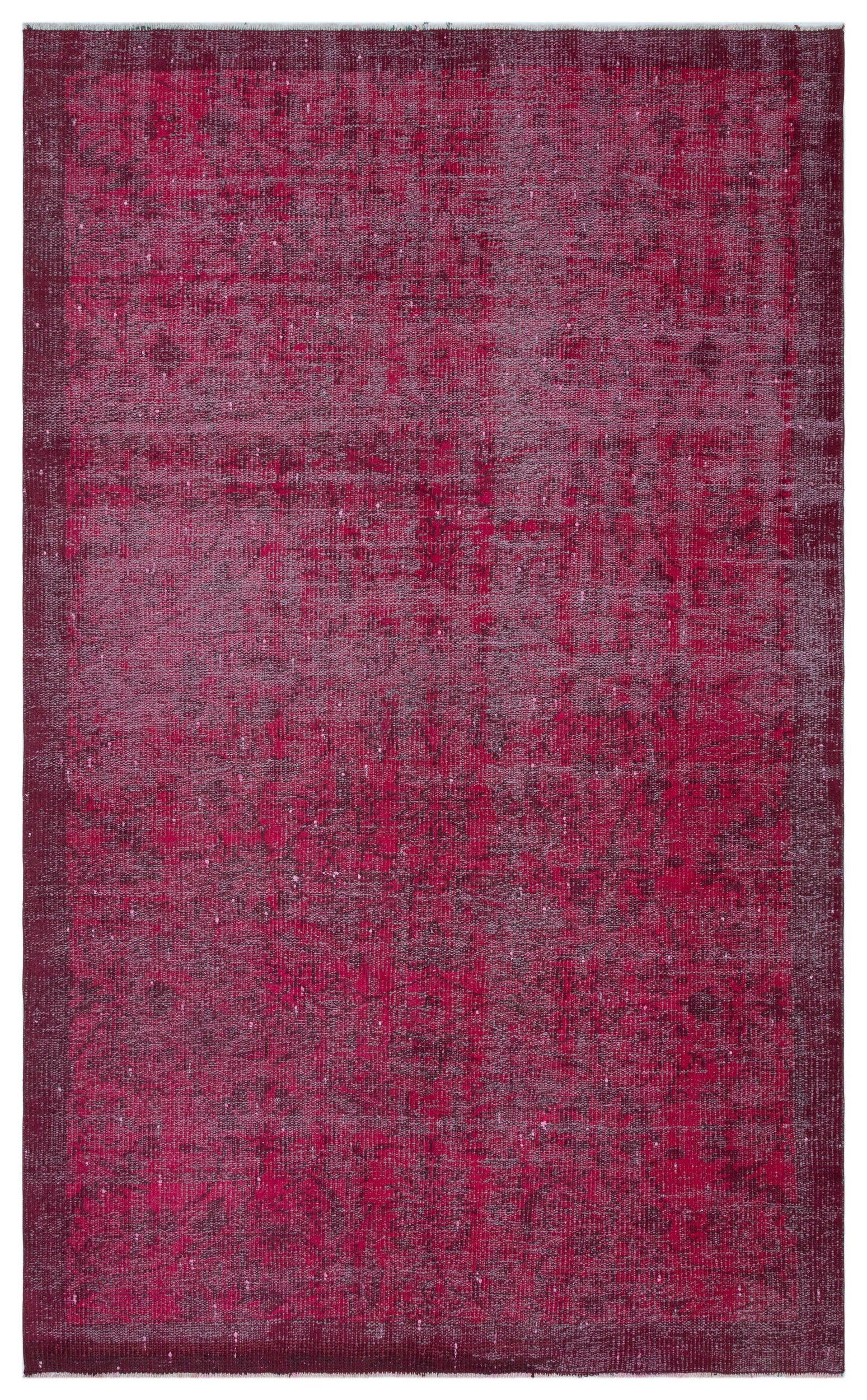 Fuchsia Over Dyed Vintage Rug 4'10'' x 7'9'' ft 148 x 237 cm