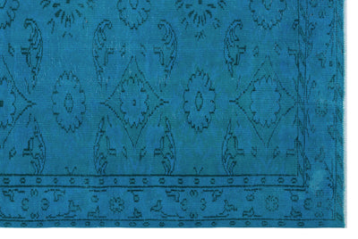 Turquoise  Over Dyed Vintage Rug 5'9'' x 8'8'' ft 174 x 264 cm