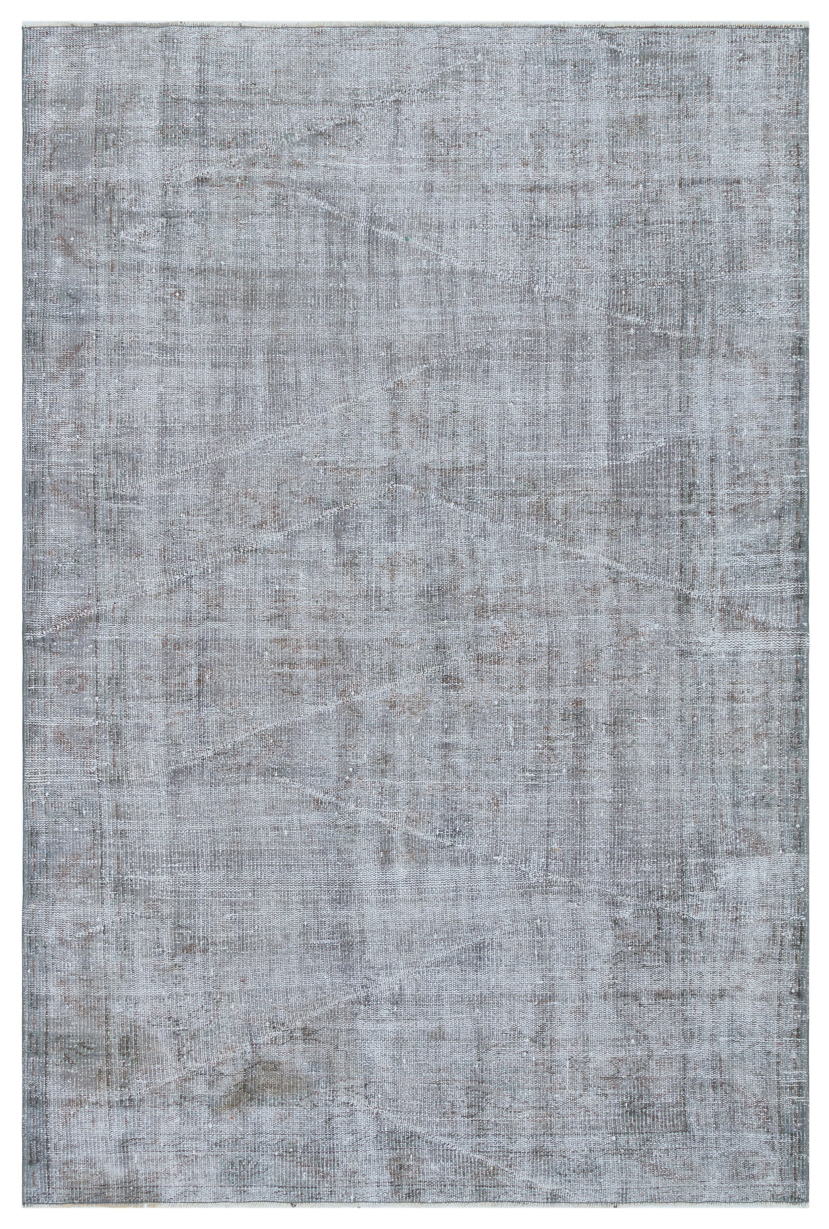 Gray Over Dyed Vintage Rug 5'1'' x 7'9'' ft 154 x 237 cm