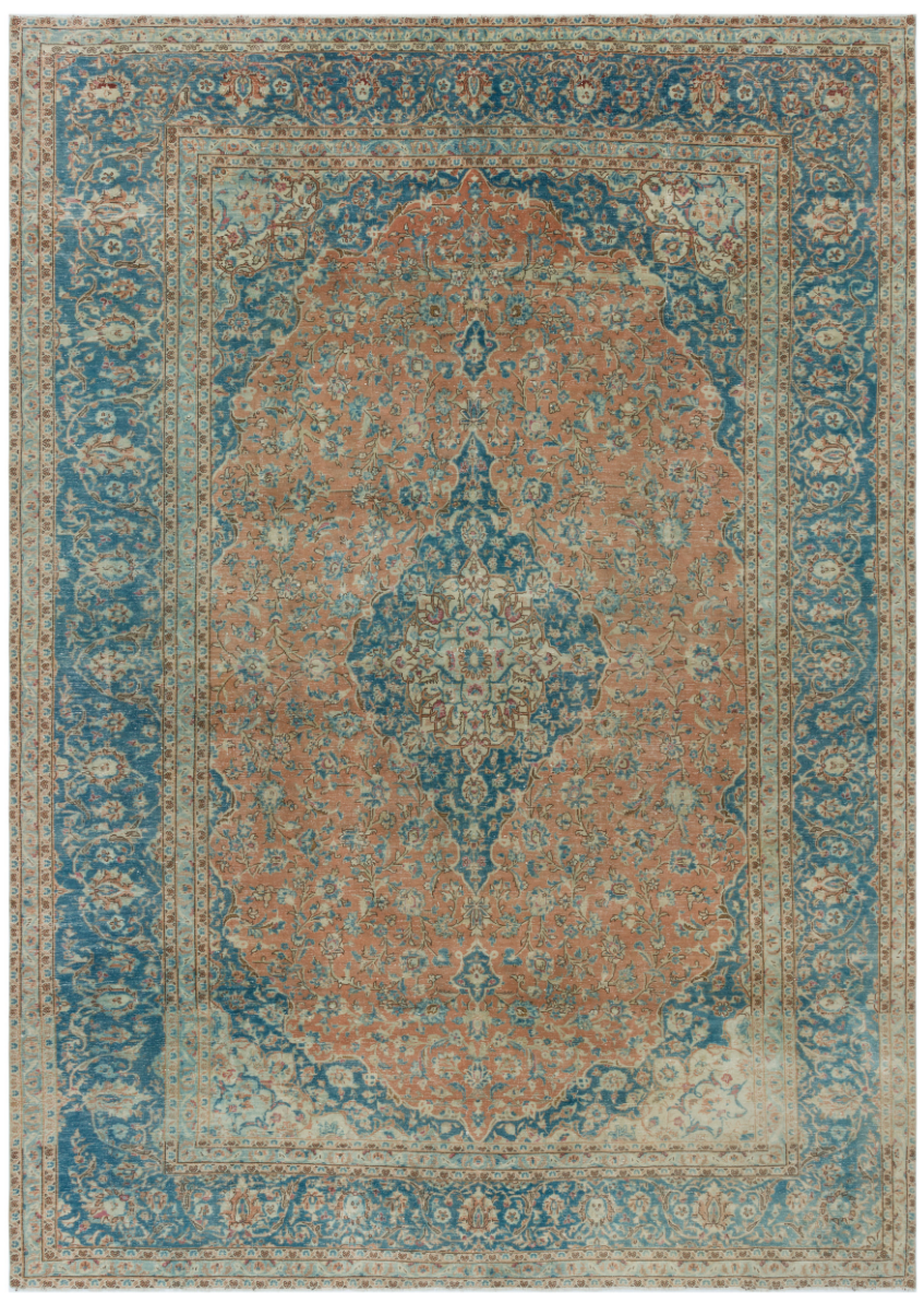 Blue and Rust Over Dyed Vintage XLarge Rug 9'8'' x 13'6'' ft 294 x 411 cm