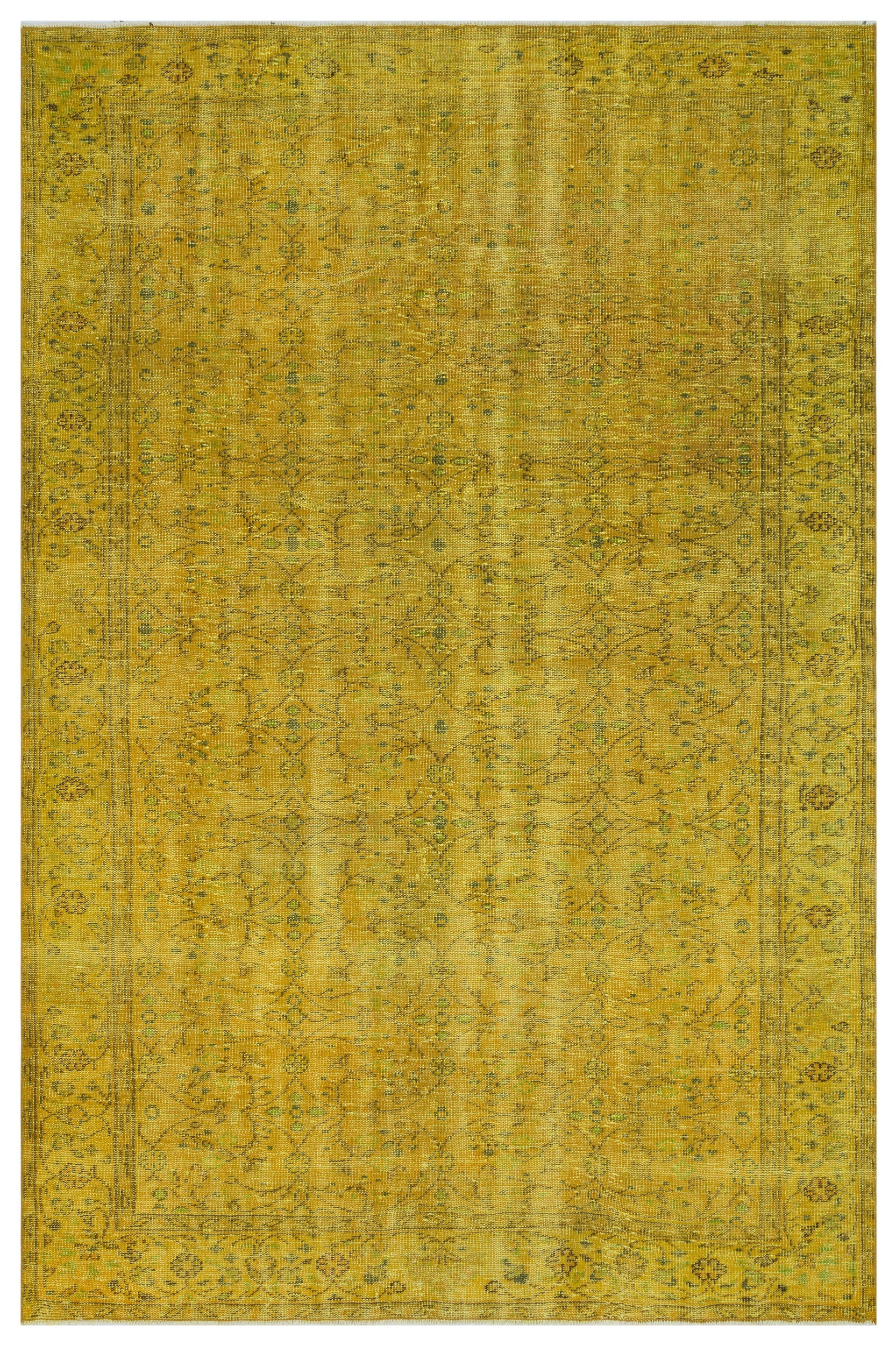 Yellow Over Dyed Vintage Rug 6'0'' x 9'3'' ft 184 x 282 cm