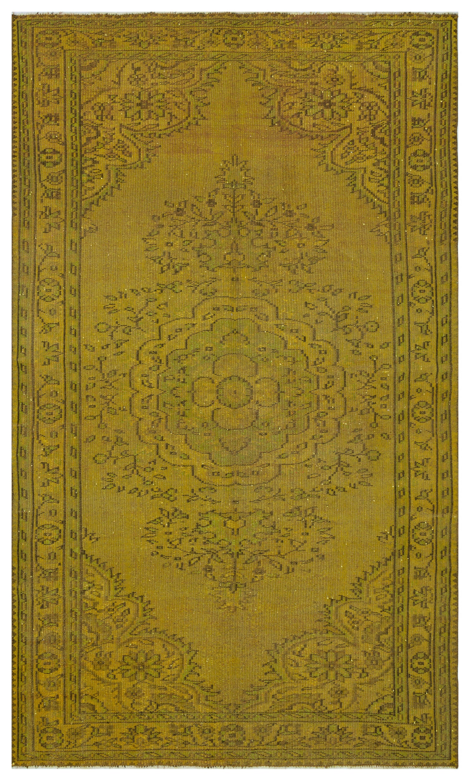 Yellow Over Dyed Vintage Rug 5'10'' x 9'5'' ft 177 x 288 cm
