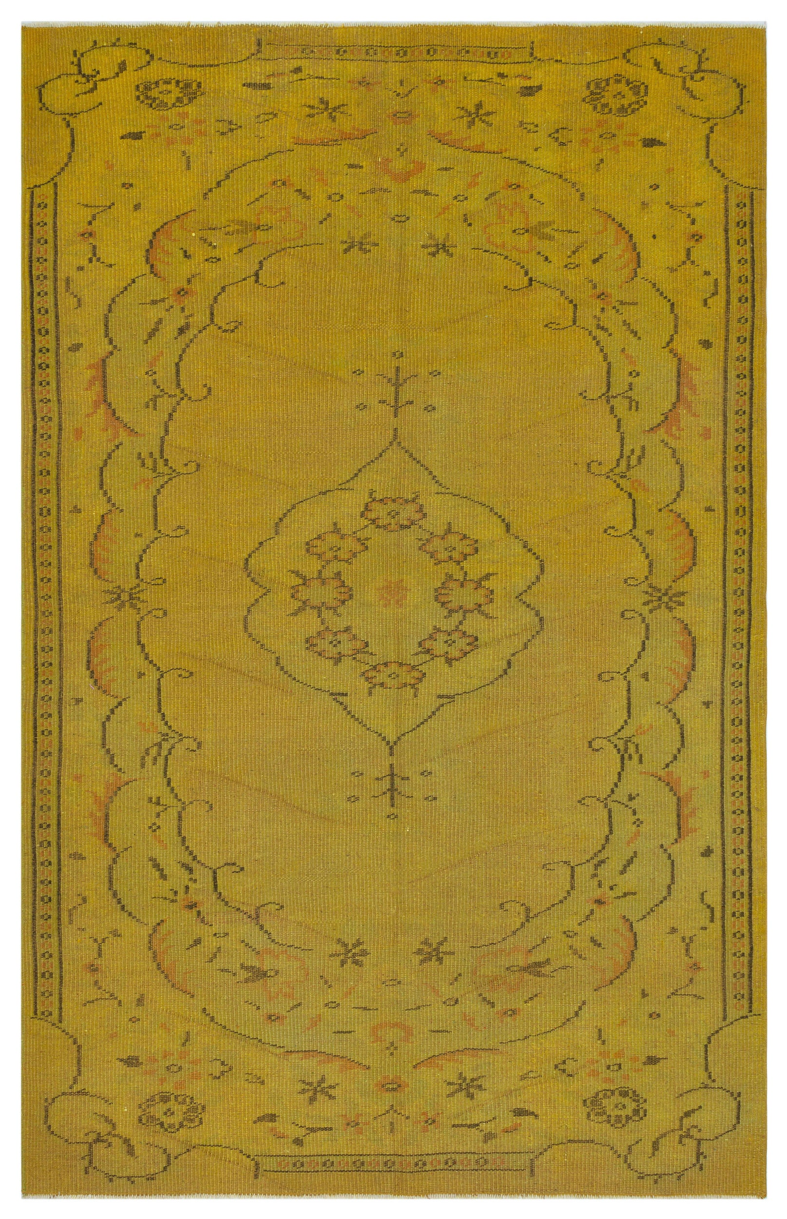 Yellow Over Dyed Vintage Rug 5'3'' x 8'2'' ft 161 x 248 cm