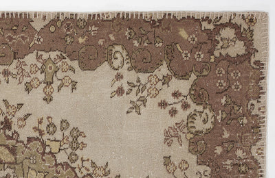 Beige Over Dyed Vintage Rug 3'11'' x 7'0'' ft 120 x 214 cm