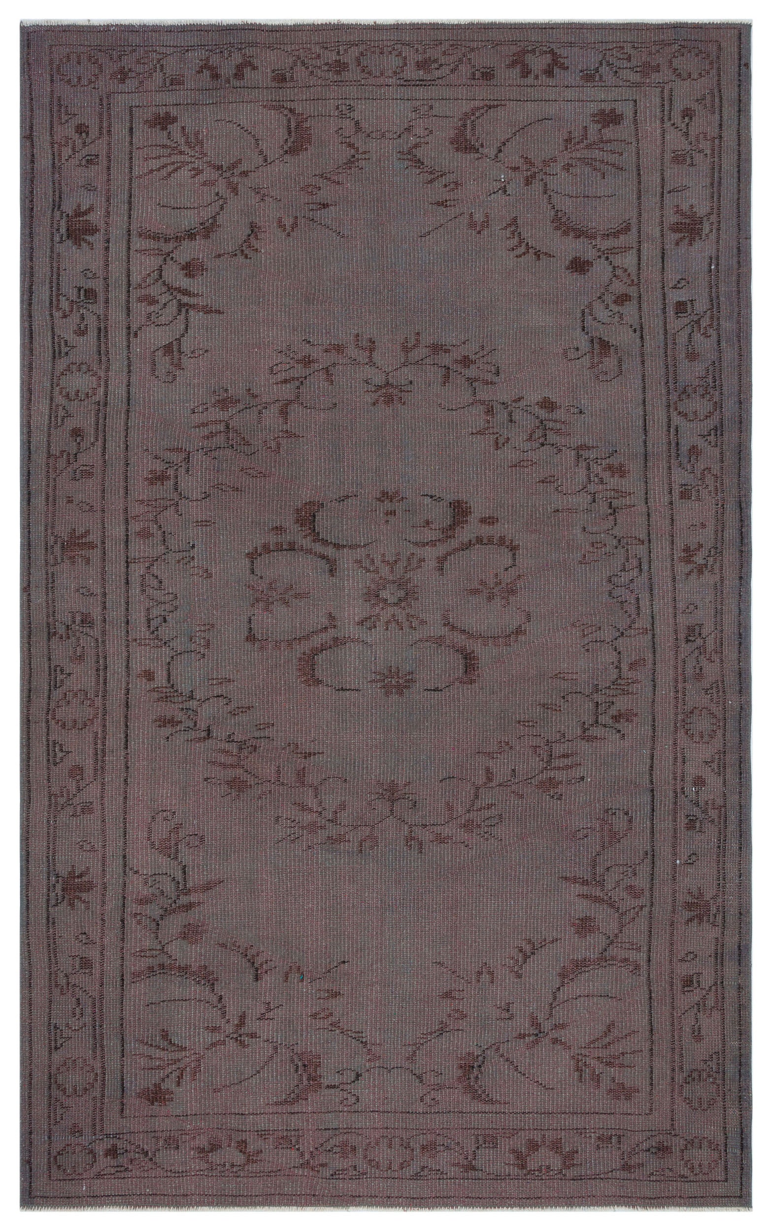 Gray Over Dyed Vintage Rug 5'0'' x 8'1'' ft 153 x 246 cm