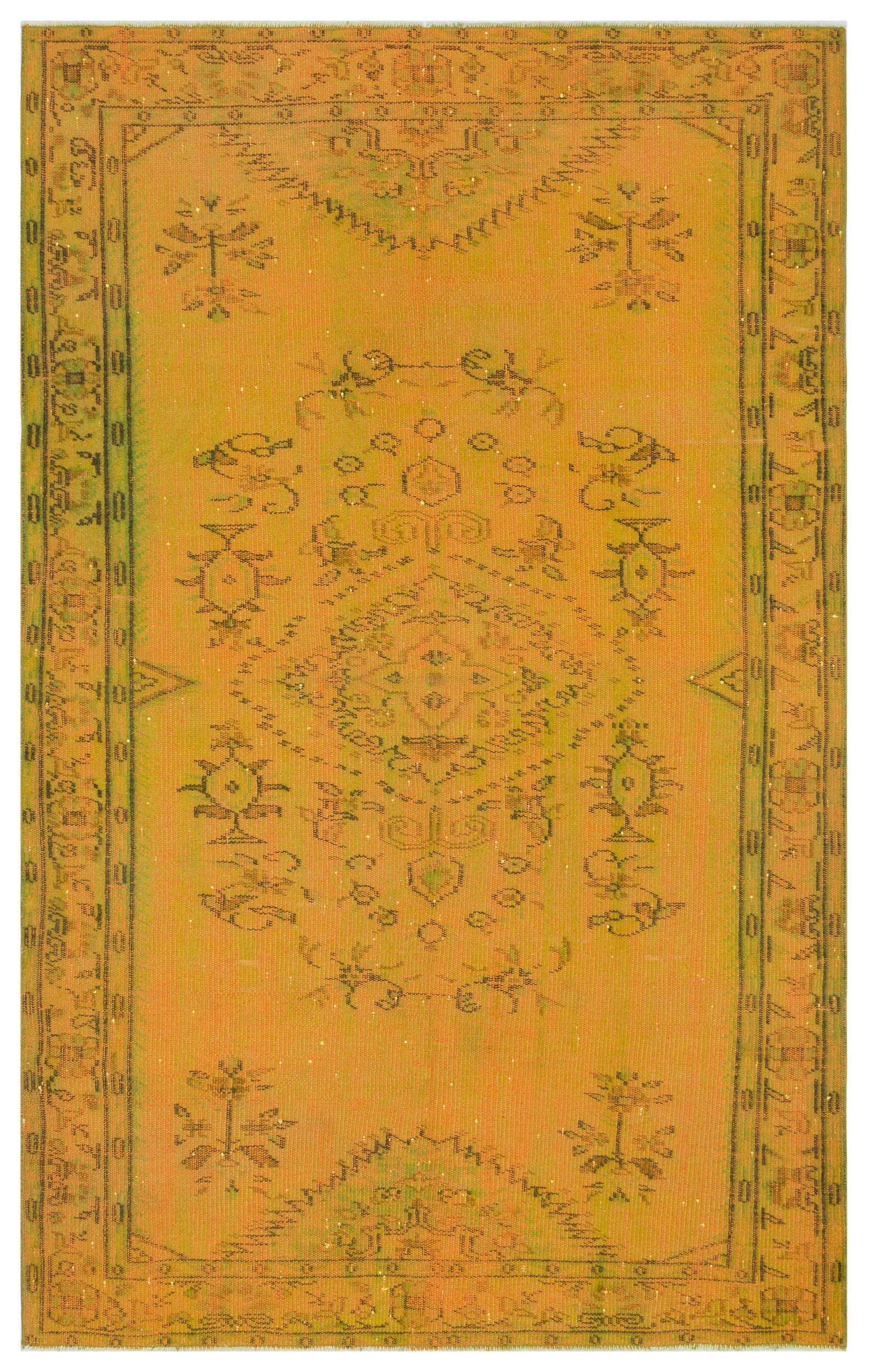 Yellow Over Dyed Vintage Rug 5'3'' x 8'3'' ft 160 x 252 cm