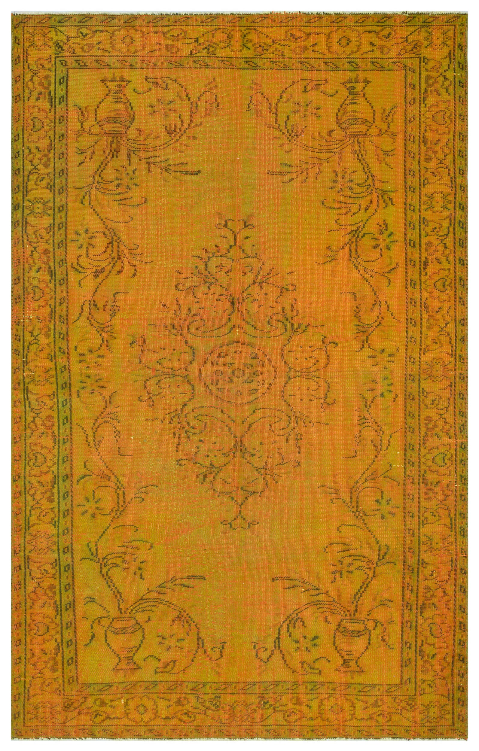 Yellow Over Dyed Vintage Rug 5'6'' x 8'8'' ft 168 x 265 cm
