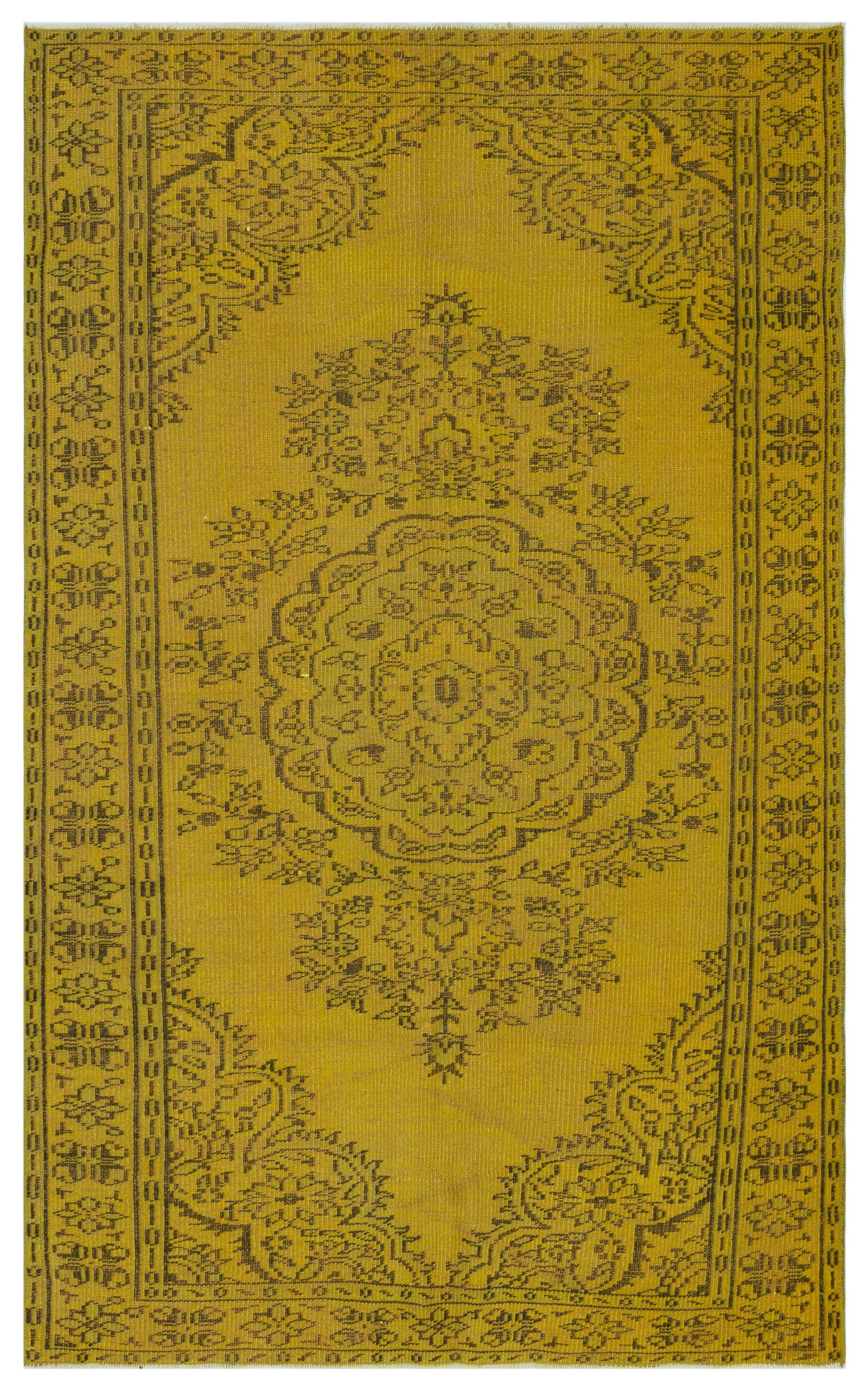 Yellow Over Dyed Vintage Rug 4'11'' x 7'11'' ft 150 x 241 cm