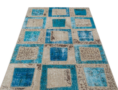 Turquoise  Over Dyed Patchwork Unique Rug 3'11'' x 5'11'' ft 120 x 180 cm