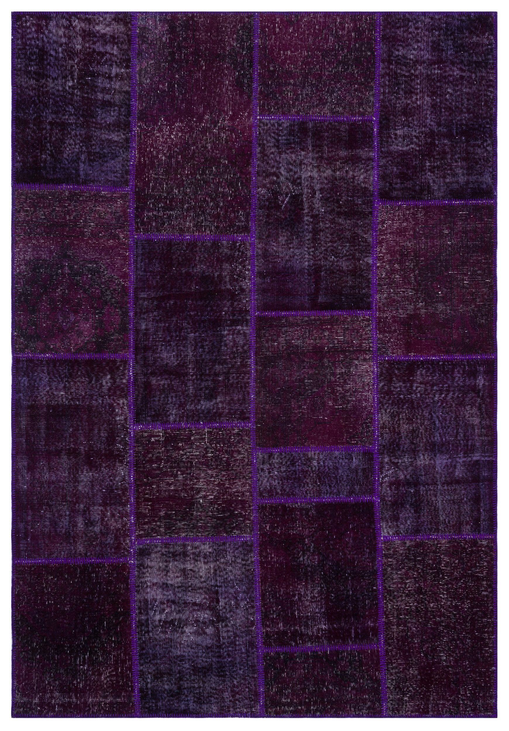 Purple Over Dyed Patchwork Unique Rug 6'3'' x 9'2'' ft 190 x 280 cm