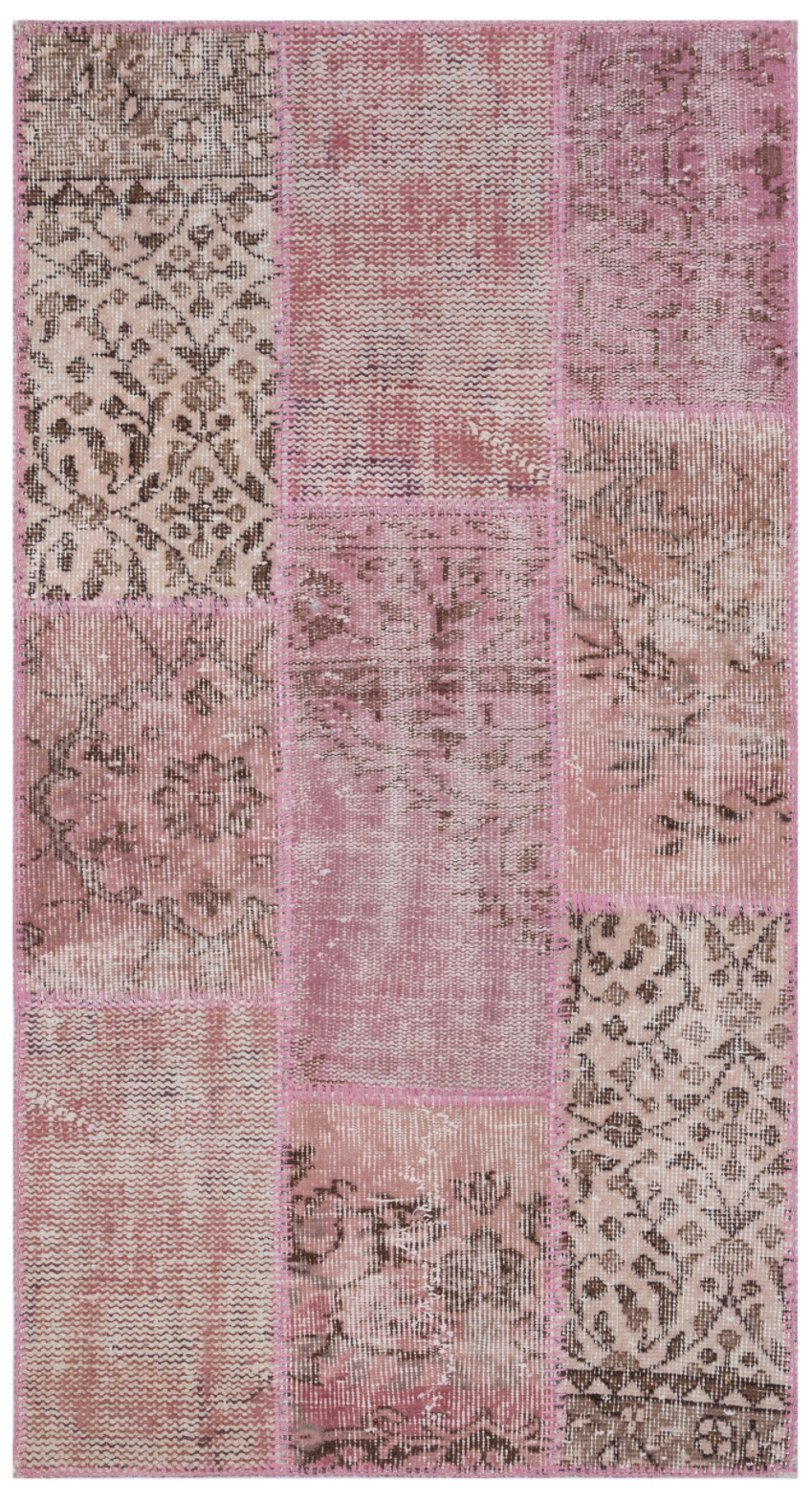 Pink Over Dyed Patchwork Unique Rug 2'7'' x 4'11'' ft 80 x 150 cm