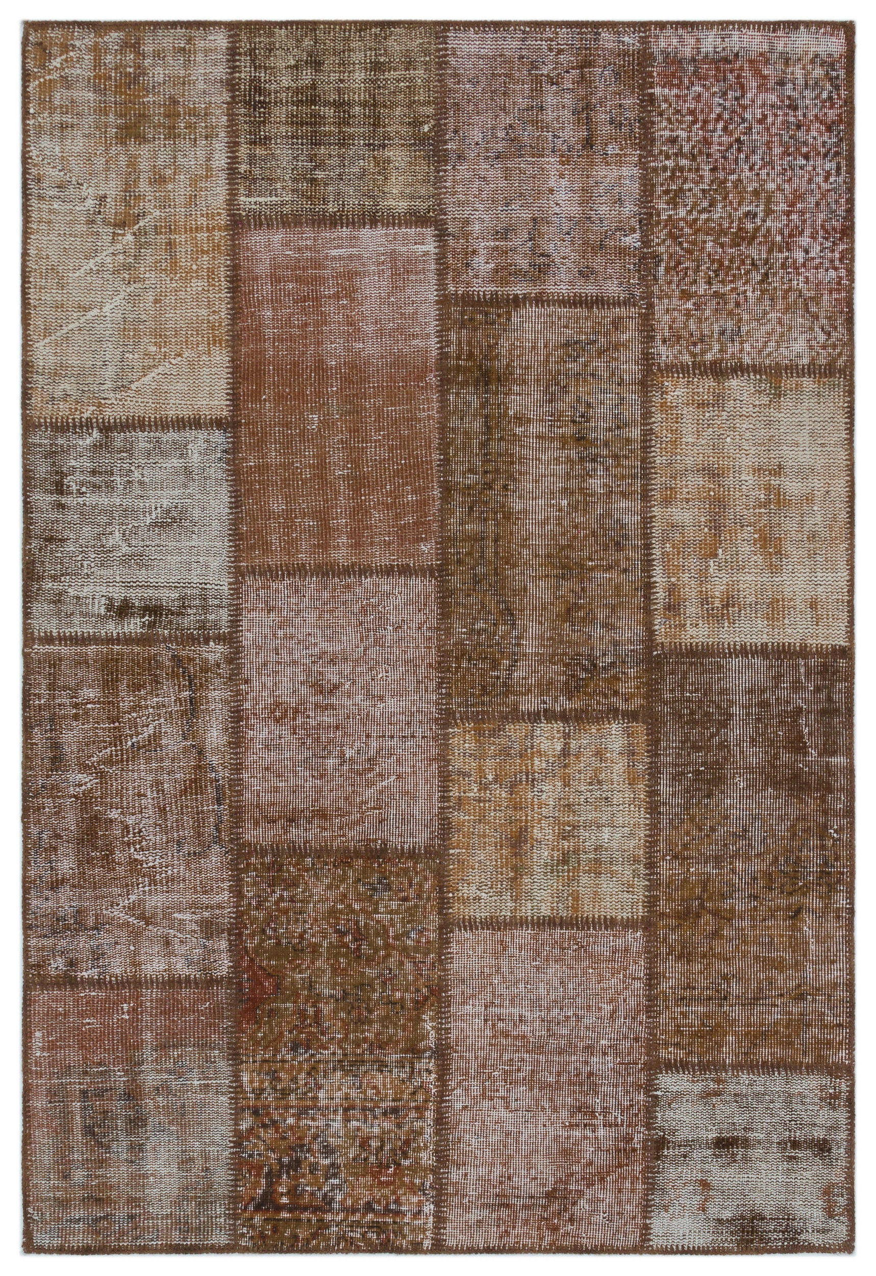 Brown Over Dyed Patchwork Unique Rug 4'0'' x 5'10'' ft 122 x 179 cm