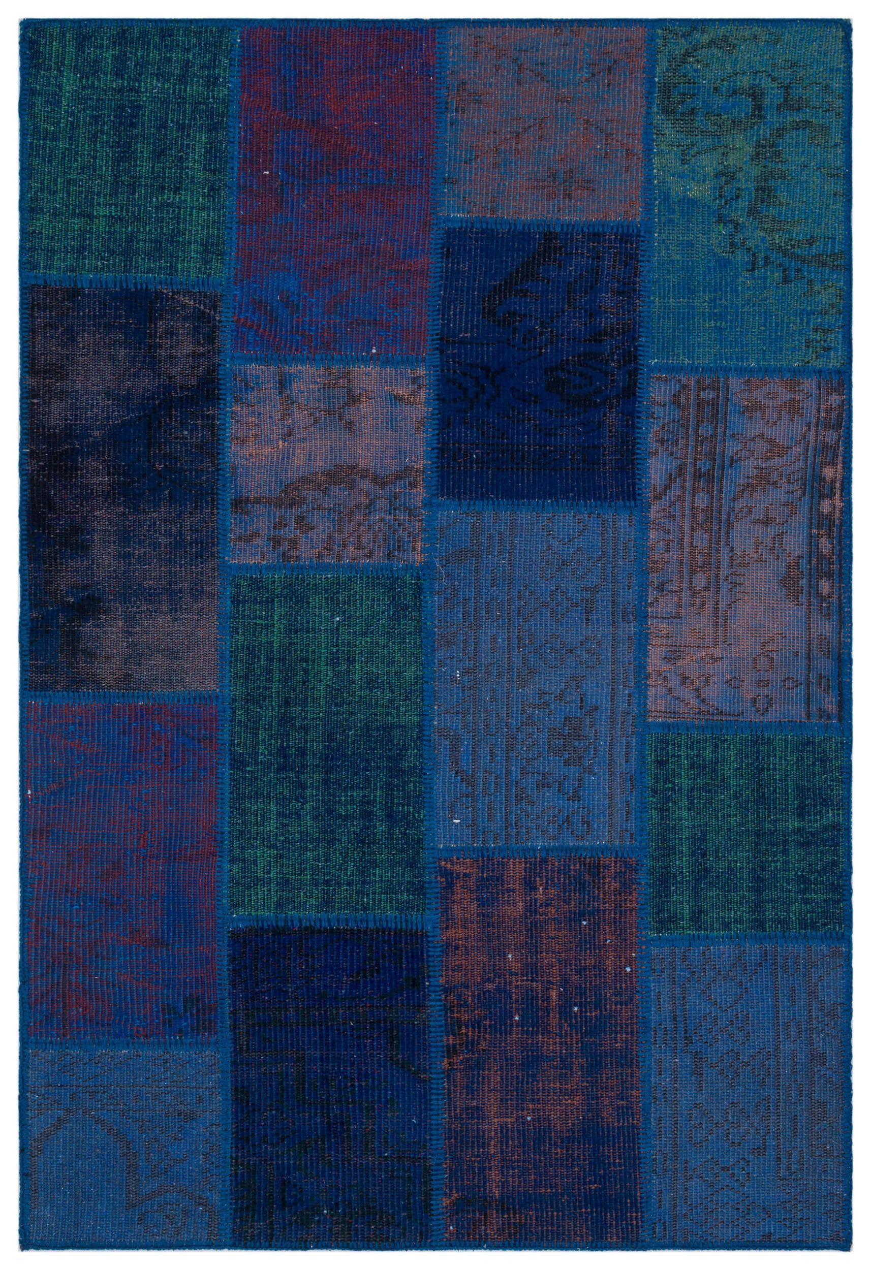 Blue Over Dyed Patchwork Unique Rug 3'11'' x 5'11'' ft 120 x 180 cm