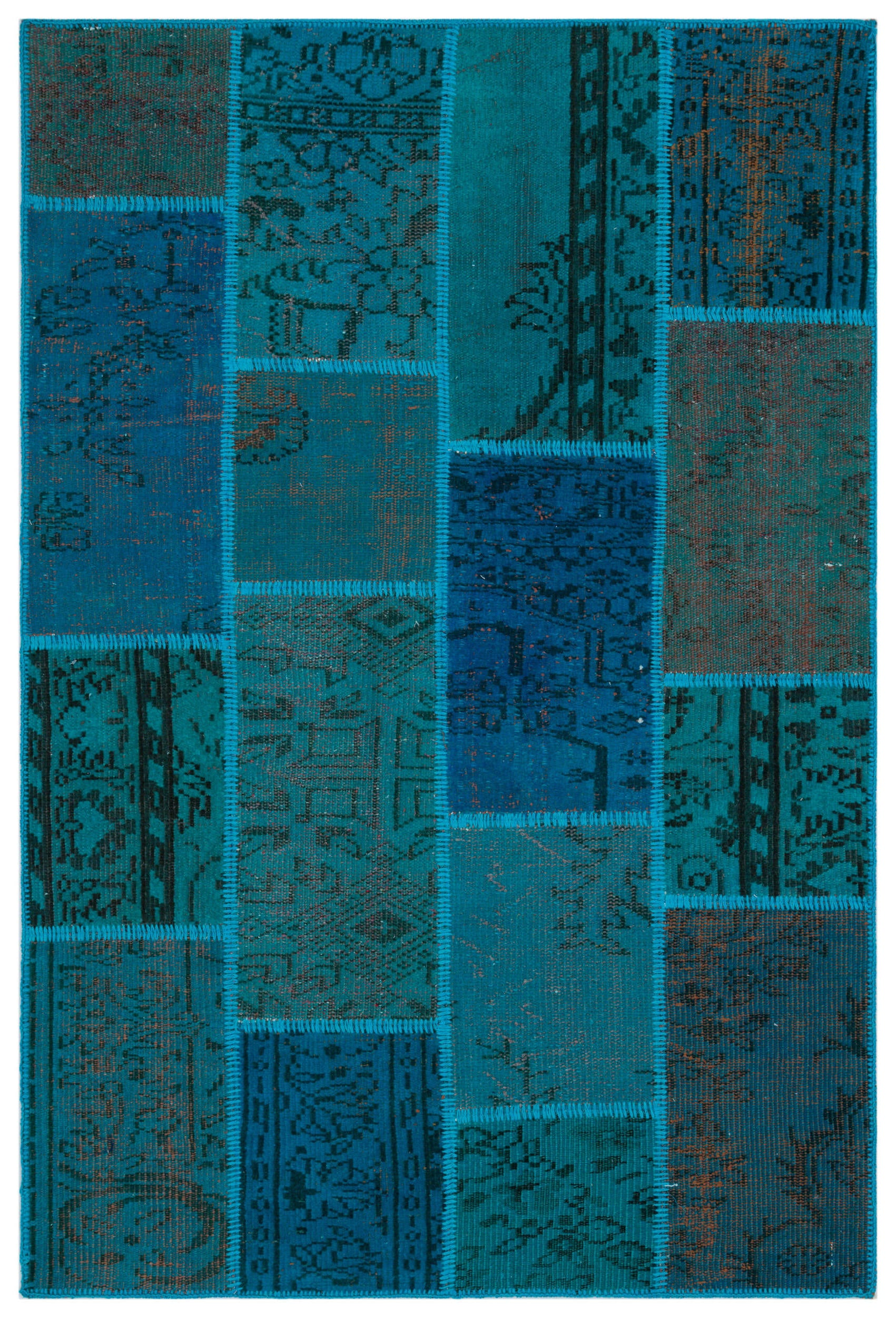 Turquoise  Over Dyed Patchwork Unique Rug 3'11'' x 5'10'' ft 120 x 178 cm