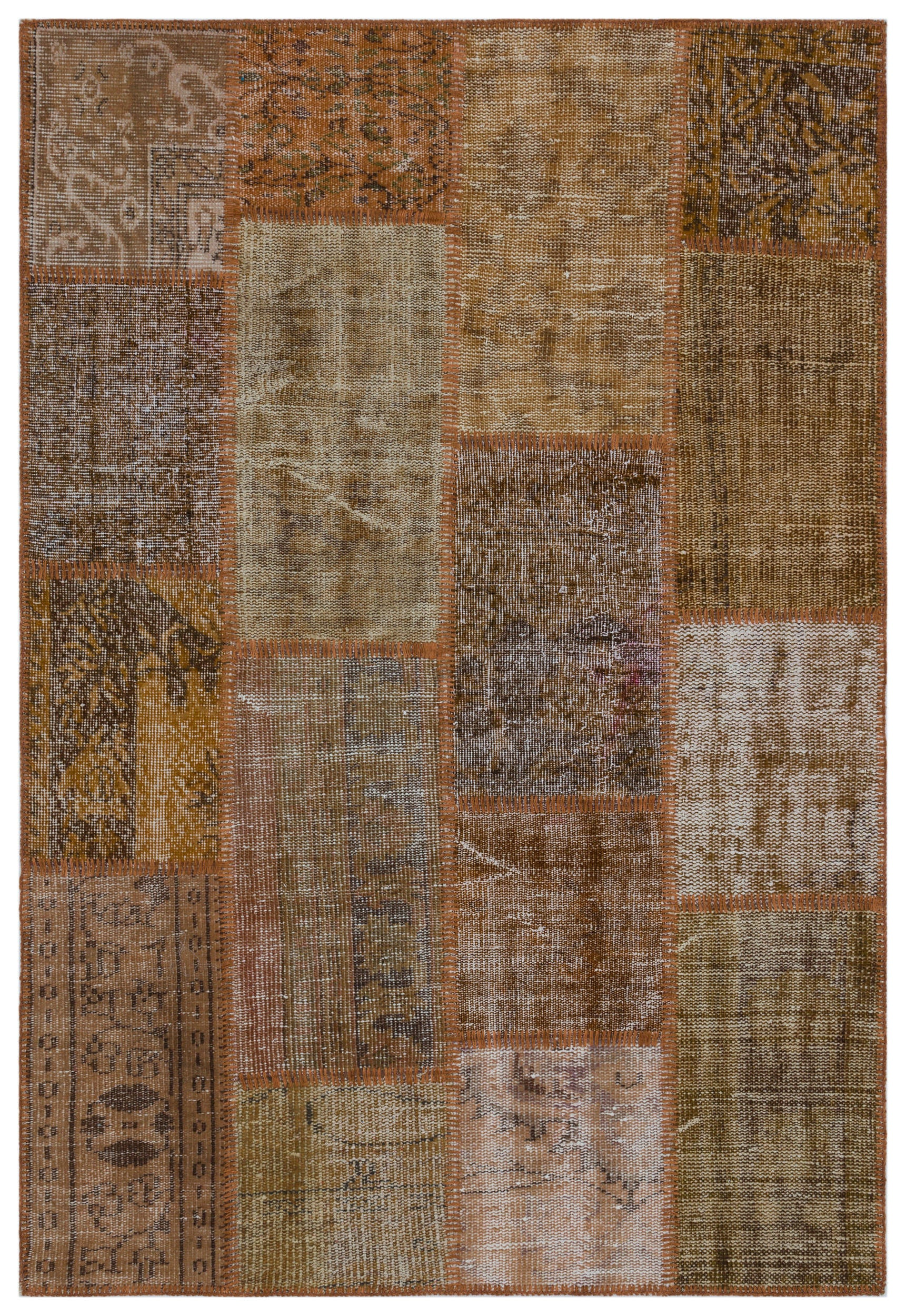 Brown Over Dyed Patchwork Unique Rug 3'11'' x 5'11'' ft 120 x 180 cm
