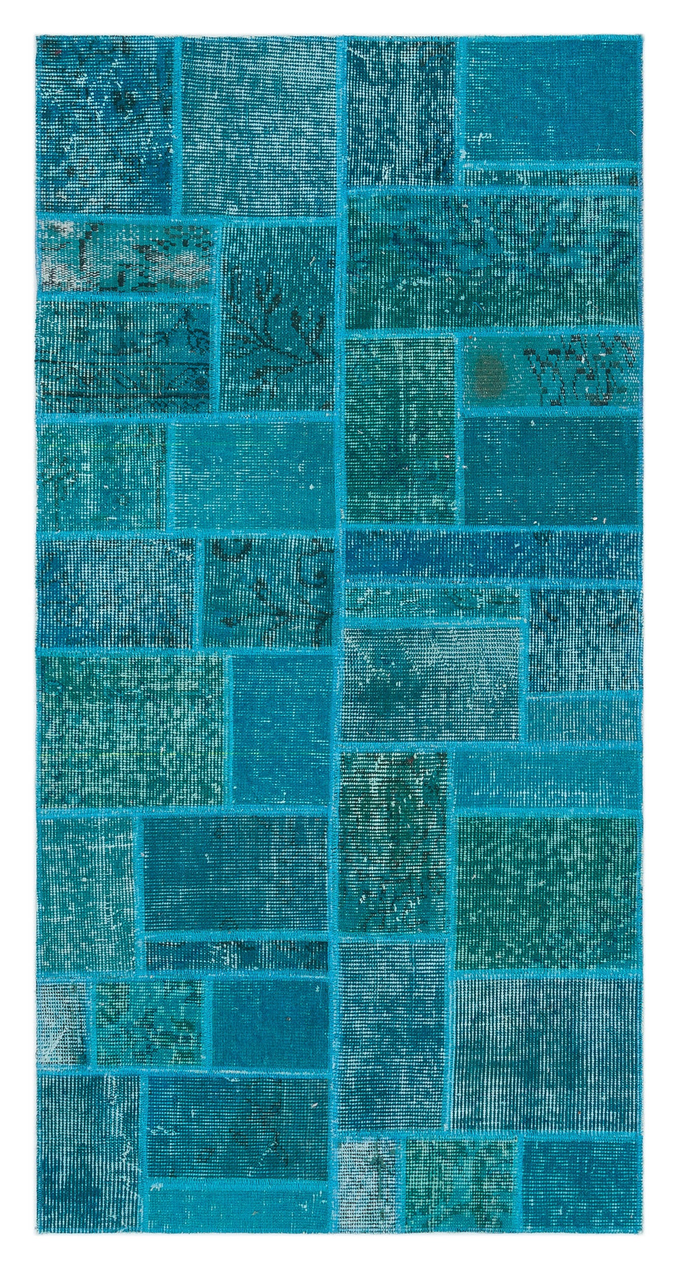 Turquoise  Over Dyed Patchwork Unique Rug 2'7'' x 5'1'' ft 79 x 155 cm