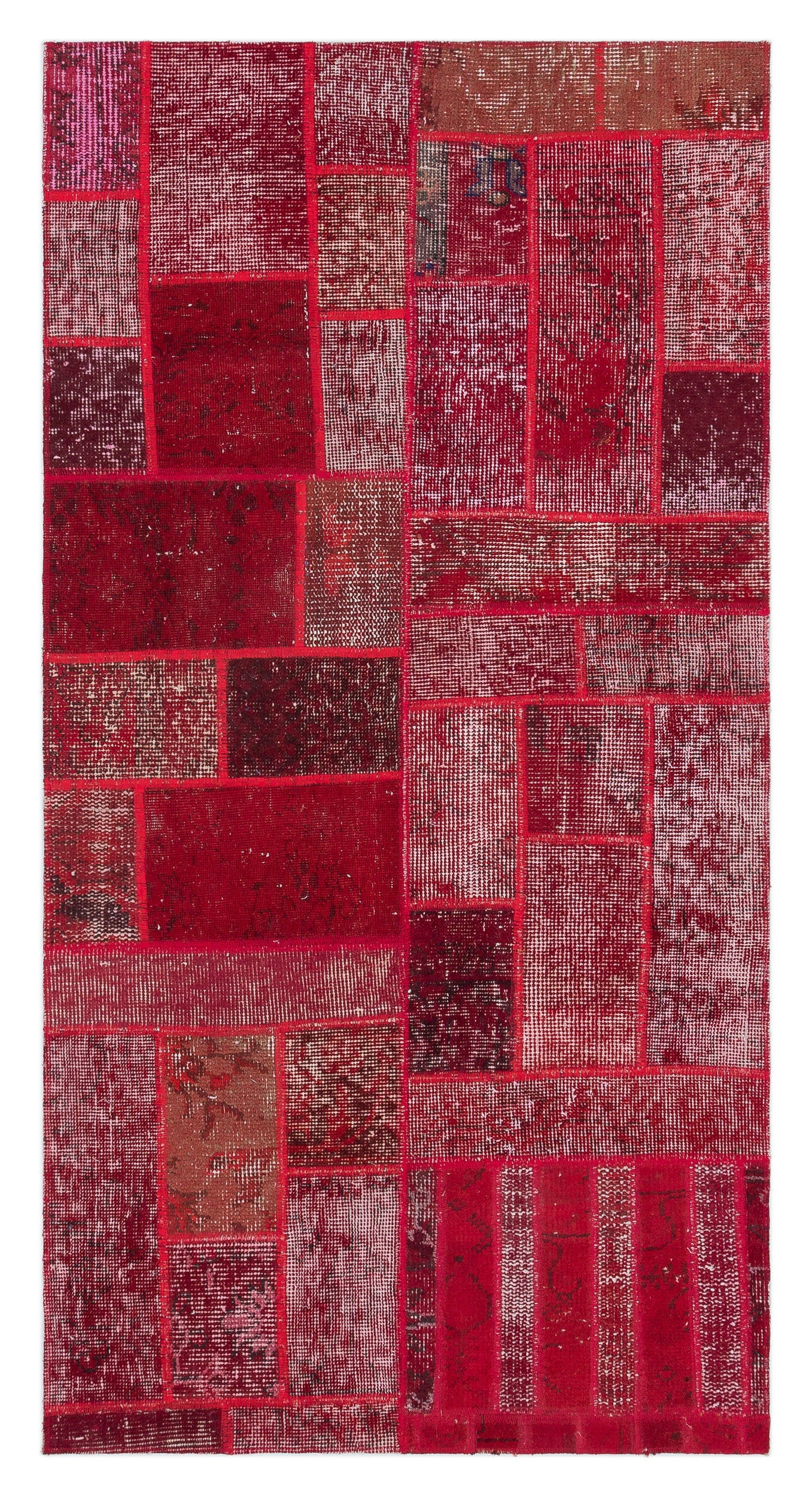 Red Over Dyed Patchwork Unique Rug 2'7'' x 5'0'' ft 79 x 153 cm