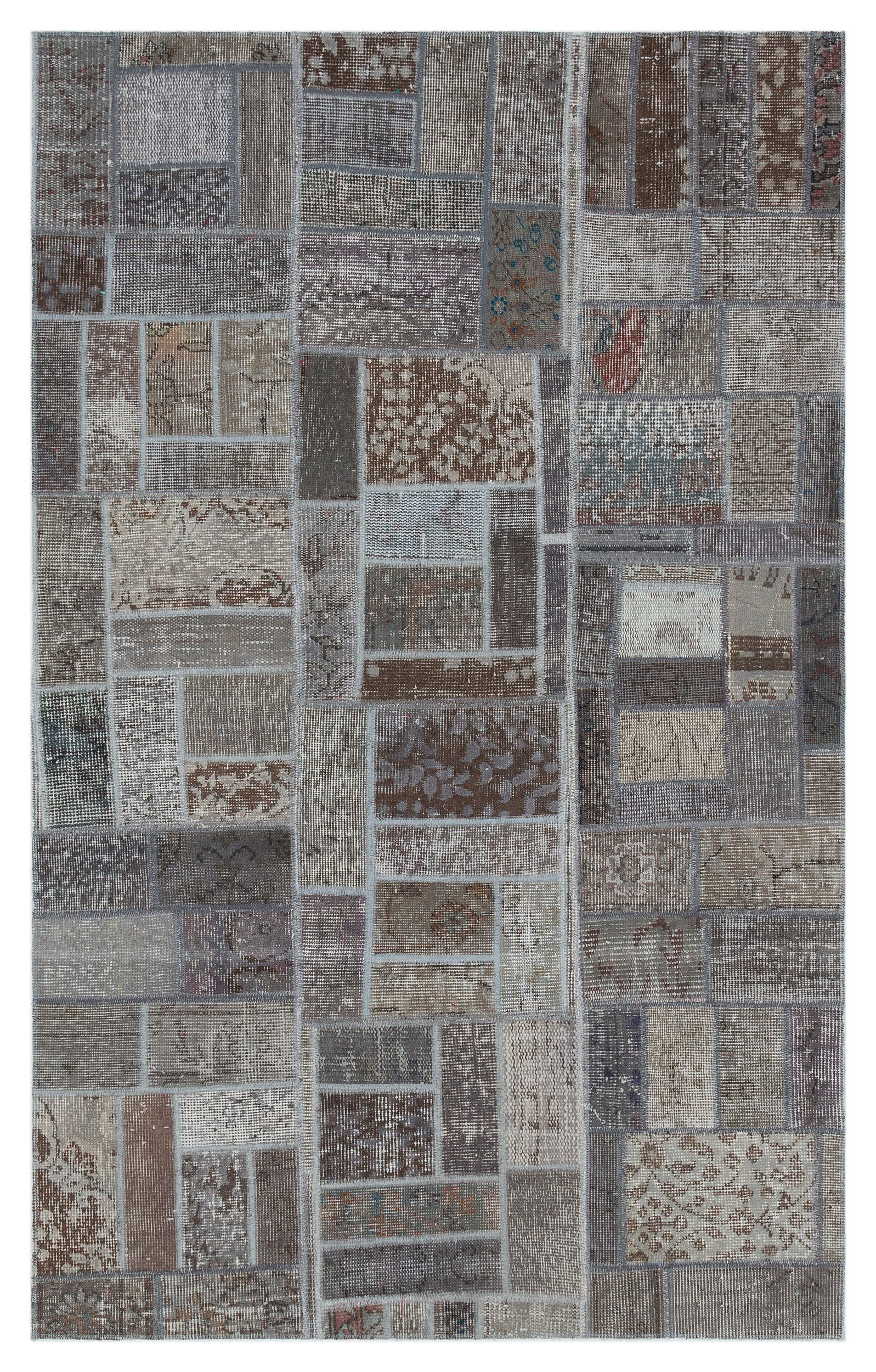 Gray Over Dyed Patchwork Unique Rug 3'10'' x 6'2'' ft 117 x 187 cm