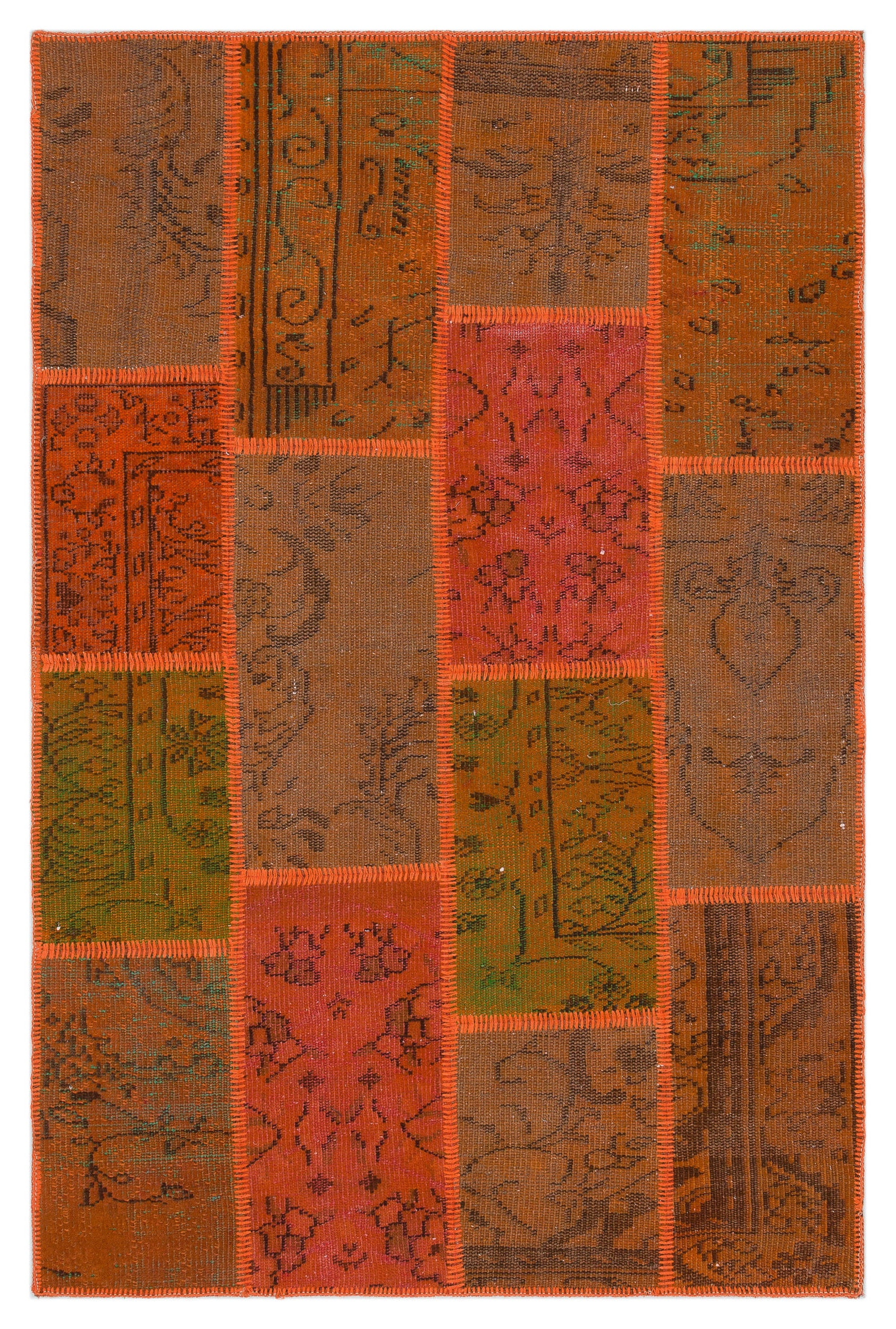 Orange Over Dyed Patchwork Unique Rug 3'11'' x 5'12'' ft 120 x 182 cm