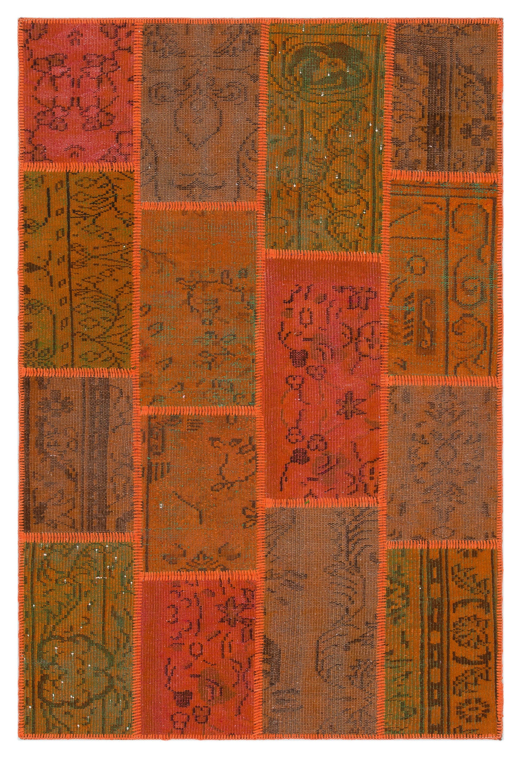 Orange Over Dyed Patchwork Unique Rug 3'11'' x 5'11'' ft 120 x 180 cm