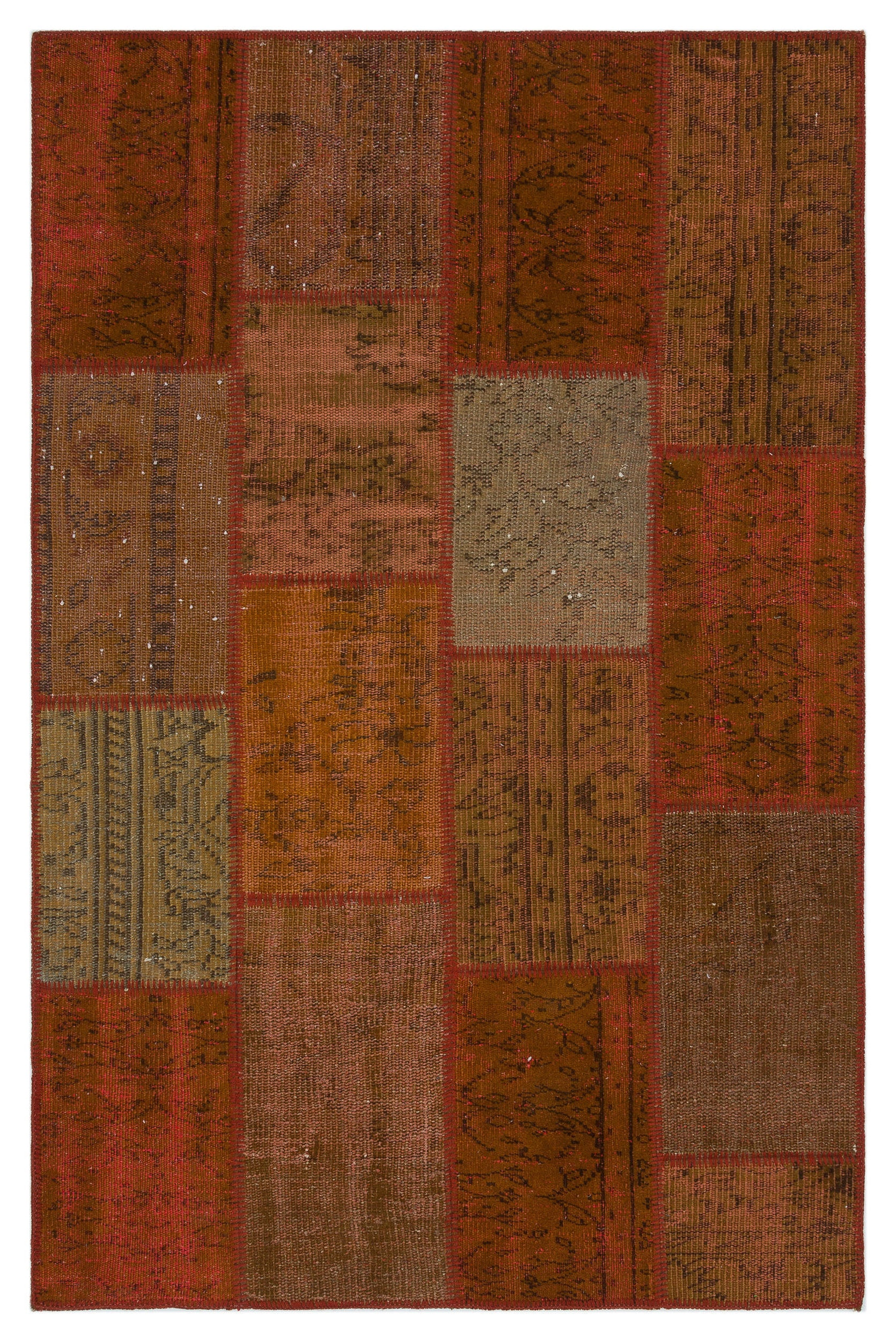 Brown Over Dyed Patchwork Unique Rug 3'11'' x 6'0'' ft 120 x 183 cm