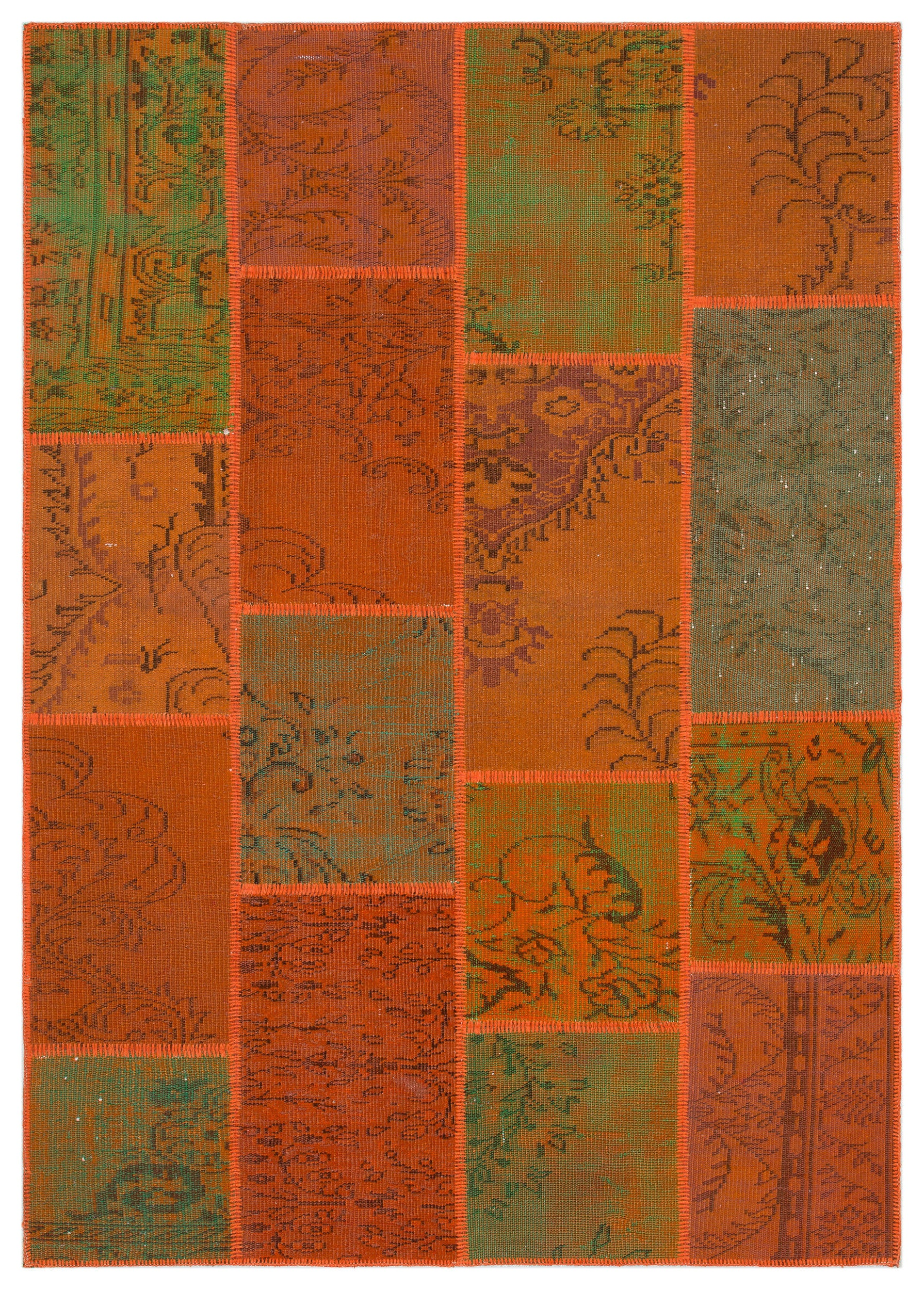 Orange Over Dyed Patchwork Unique Rug 5'3'' x 7'7'' ft 160 x 230 cm