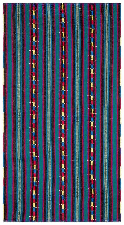 Striped Over Dyed Kilim Rug 5'5'' x 10'2'' ft 165 x 310 cm