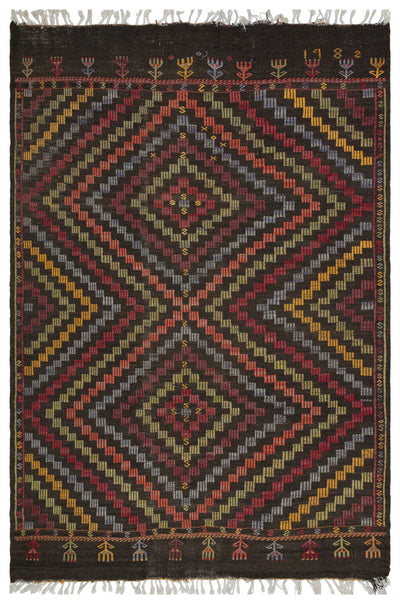 Striped Over Dyed Kilim Rug 5'11'' x 8'9'' ft 181 x 266 cm