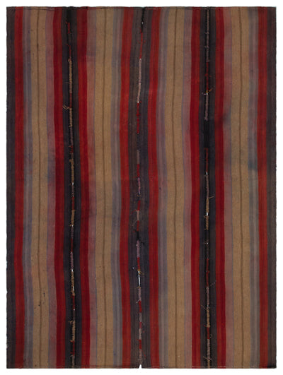 Striped Over Dyed Kilim Rug 6'8'' x 8'8'' ft 202 x 263 cm