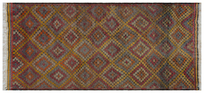 Geometric Over Dyed Kilim Rug 4'10'' x 11'2'' ft 148 x 340 cm