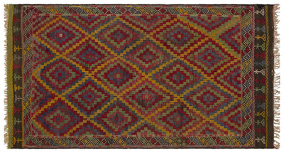 Geometric Over Dyed Kilim Rug 5'5'' x 9'9'' ft 166 x 297 cm