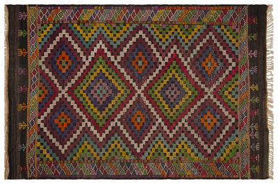 Geometric Over Dyed Kilim Rug 6'0'' x 9'0'' ft 184 x 275 cm