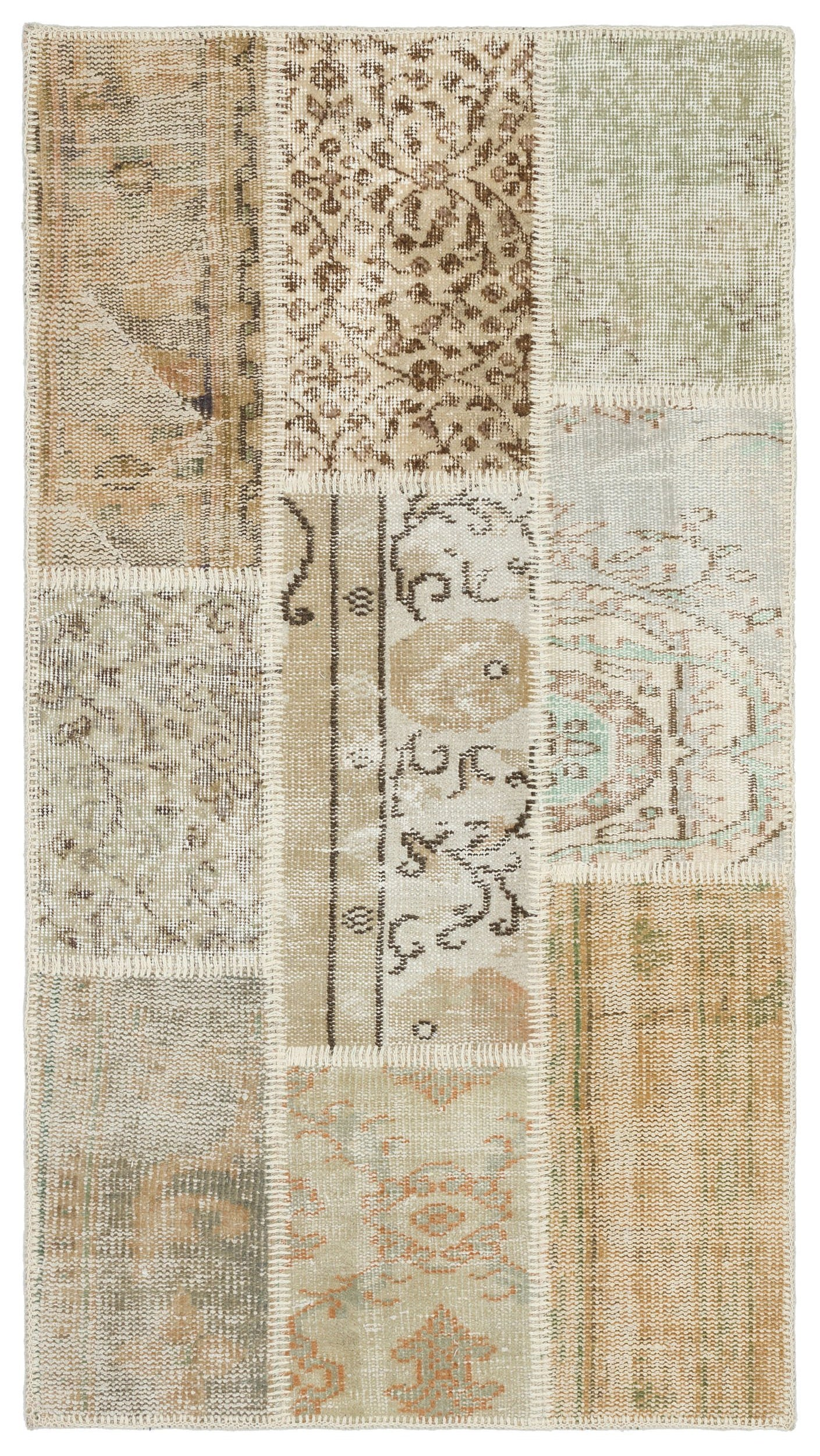 Beige Over Dyed Patchwork Unique Rug 2'8'' x 4'11'' ft 82 x 150 cm